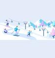 family at ski resort winter activity and sports vector image