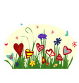 field of blooming hearts on yellow background vector image