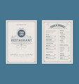 fresh retro template for restaurant menu design vector image vector image