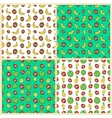 Fruits Seamless Background Set with Funny Bananas vector image vector image