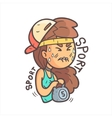 Girl In Cap Choker And Blue Top Working Out In vector image vector image