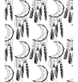 hand drawn seamless pattern with dream catcher vector image vector image