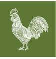 Hand drawn white doodle rooster vector image