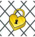 heart shaped lock pop art vector image vector image