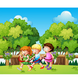 Kids playing outdoor during daytime vector image