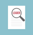 leader word magnifying glass vector image vector image