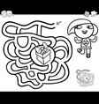 maze with girl and gift coloring page vector image vector image