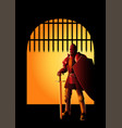 medieval knight at front gate vector image vector image