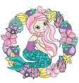 mermaid fruits sea travel clipart color vector image vector image