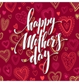 Mothers day lettering card with red seamless vector image vector image