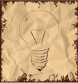 Old light bulb icon on vintage background vector image