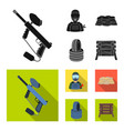 paintball marker player and other accessories vector image vector image
