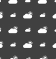 Partly Cloudy icon sign Seamless pattern on a gray vector image vector image