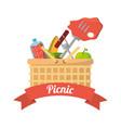 picnic basket food fork grill vector image vector image