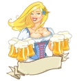 Pretty Pin Up Girl with beer mugs vector image vector image