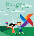Save the Earth - Green energy for children vector image vector image