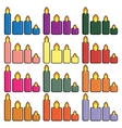 Set of Christmas icons candles in a simplified vector image vector image