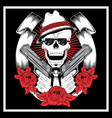 skull mafiagangster wearing bandana with gun an vector image vector image