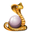 statuette in form a golden cobra guarding vector image vector image