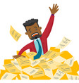 stressed businessman sinking in the heap of papers vector image vector image