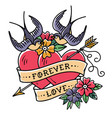 tattoo forever love two hearts pierced by arrow vector image