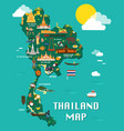 thailand map with colorful landmarks design vector image vector image