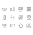 Thin line style video blogging icons vector image