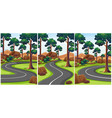 three scenes of park with empty roads vector image vector image