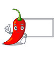 thumbs up with board cartoon red hot natural chili vector image vector image