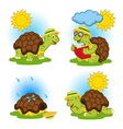 turtle reading book and hides from rain vector image