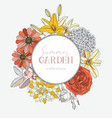 wreath with summer flowers - dahlia hydrangea vector image