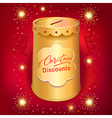 Xmas discounts holiday moneybox tin can template vector image vector image