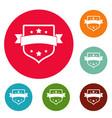 badge vintage icons circle set vector image