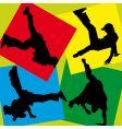 silhouettes of break-dancers vector image