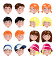 different kids faces set isolated vector image