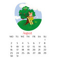 august calendar page 2021 with bull picking apples vector image vector image
