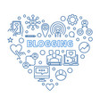 blogging concept heart blue linear vector image vector image