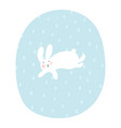 cartoon bunny is running under snowfall easter vector image vector image