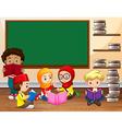 Children reading book in classroom vector image vector image