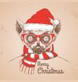christmas hipster fashion animal lemur vector image vector image