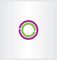 circle o letter logo purple green icon vector image vector image