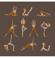 Colored yoga set icons isolated on white vector image vector image