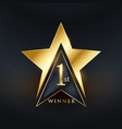 creative no 1 star label golden design vector image vector image