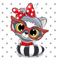 cute cartoon raccoon with red glasses vector image vector image