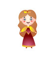 cute smiling girl in queen costume royal dress vector image