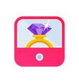 diamond jewelry golden wedding ring on pink box vector image