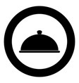 dish the black color icon in circle or round vector image vector image
