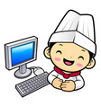 funny chef character and personal computer vector image
