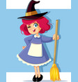 girl in witch costume ready for halloween vector image vector image