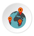globe earth with pointer marks icon circle vector image vector image
